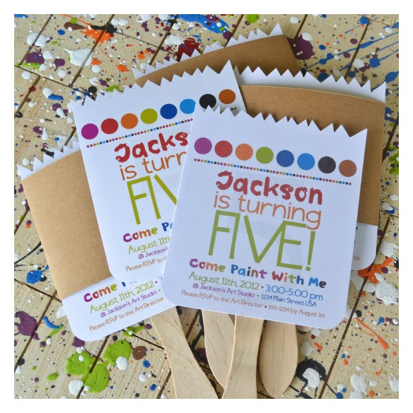 paint party invitations paintbrush