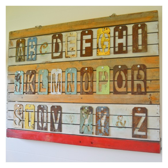 Metal letter stencil wall art tutorial    - Jacks and Kate