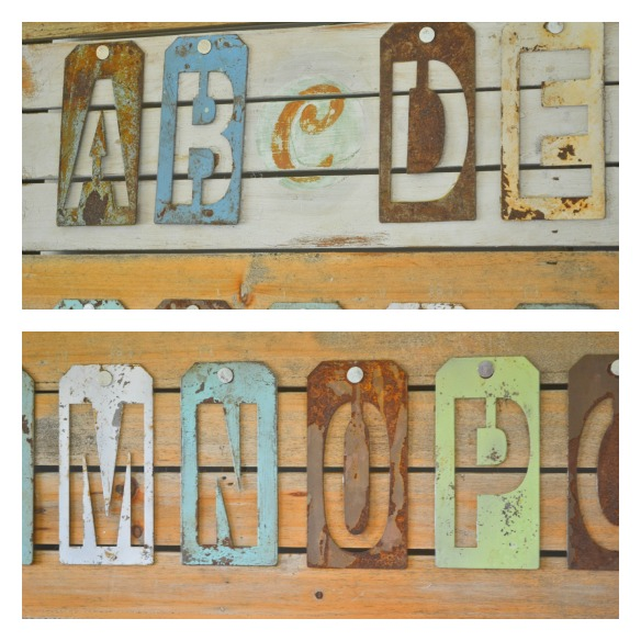 metal letter stencil aged and rusted wall art