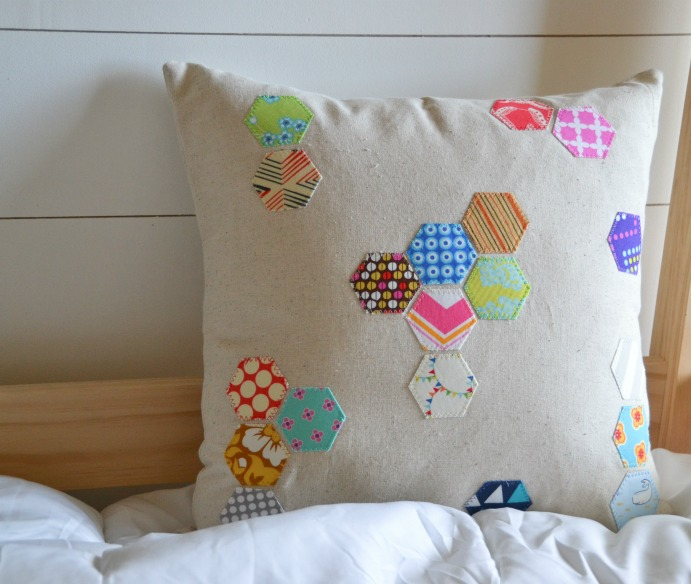 scattered hexagon pillow