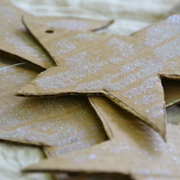 glitter cardboard stars