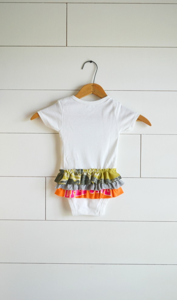 ruffled onesie made from tshirt scraps