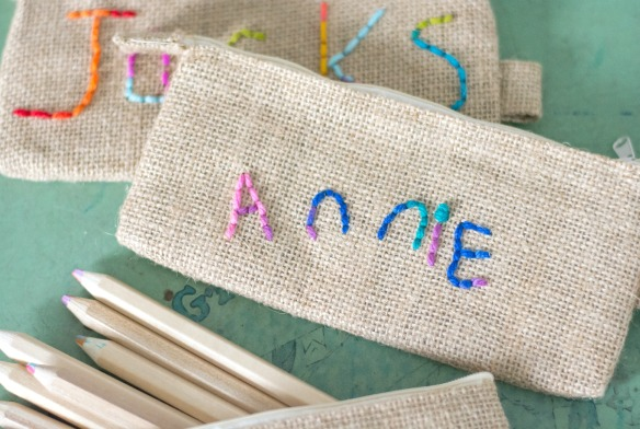 kid embroidered pencil pouch